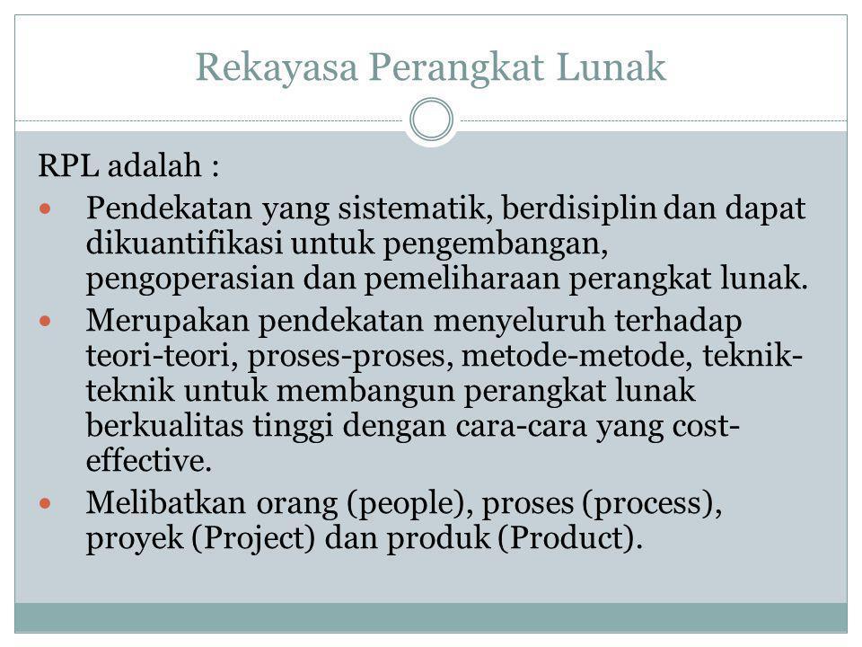 Rekayasa Perangkat Lunak RPL adalah : Pendekatan yang sistematik, berdisiplin dan dapat dikuantifikasi untuk pengembangan, pengoperasian dan pemelihar