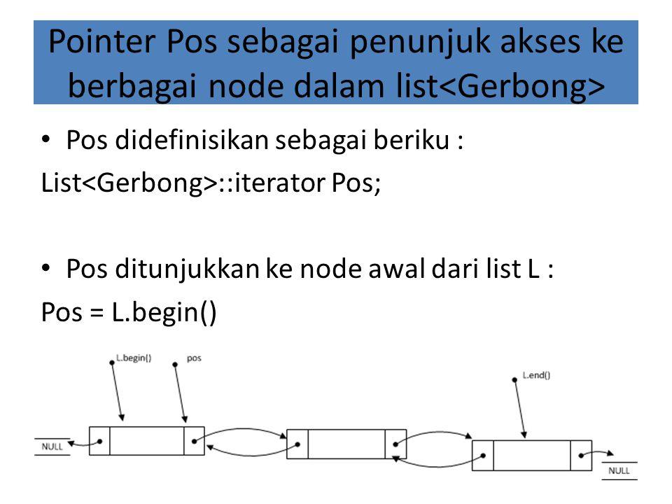 Pointer Pos sebagai penunjuk akses ke berbagai node dalam list Pos didefinisikan sebagai beriku : List ::iterator Pos; Pos ditunjukkan ke node awal dari list L : Pos = L.begin()