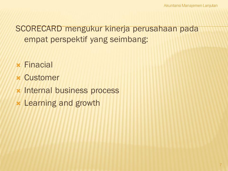 8 Perspektif Finansial (Financial Perspective) Memberi petunjuk apakah strategi perusahaan, implementasi dan pelaksanaannya memberikan kontribusi atau tidak kepada peningkatan laba perusahaan.