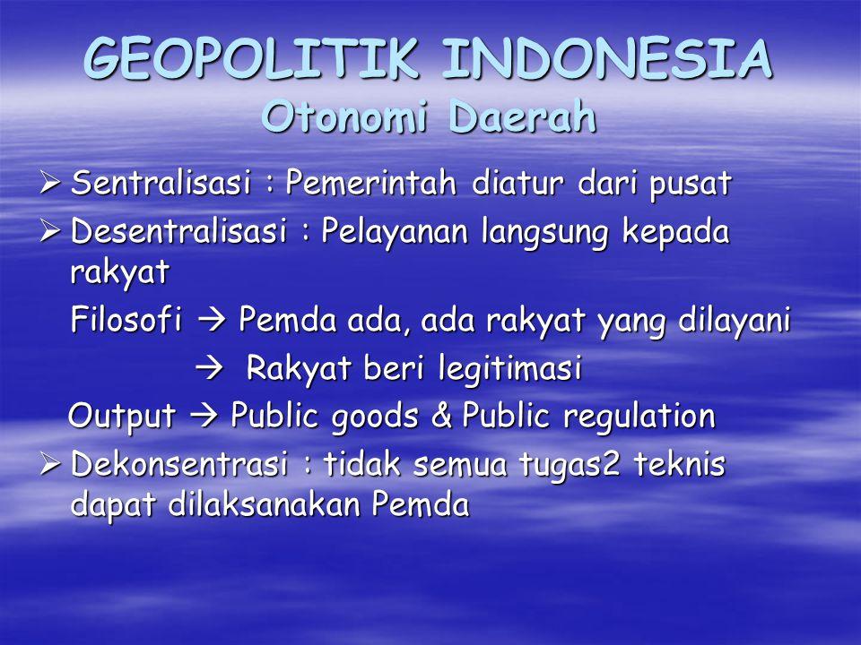 GEOPOLITIK INDONESIA Hukum Kewilayahan ( Hukum Dirgantara) Ket: A = Ruang Udara Nasional Indonesia B = Ruang Udara Bebas/ Negara lain A,B,C, = Atmosfir Bumi D, E = Ruang Angkasa (Bebas untuk kemanusiaan dan milik bersama) Y = Orbit Geostarioner (GSO) BUMIE Y D C B Y Y 5.140KM + 35.871KM A 12,82% 33.979,07KM DEKLARASI BOGOTA 1976 GSO Indonesia