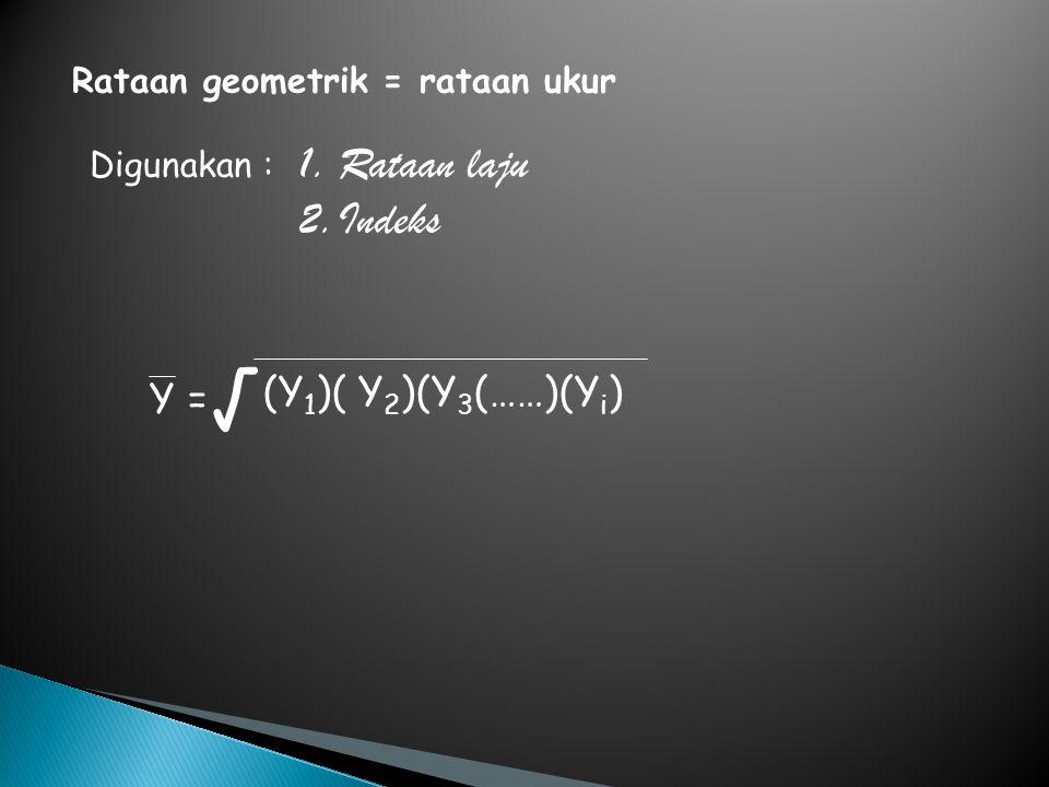Rataan geometrik = rataan ukur Digunakan : 1.Rataan laju 2.Indeks (Y 1 )( Y 2 )(Y 3 (……)(Y i ) Y = √
