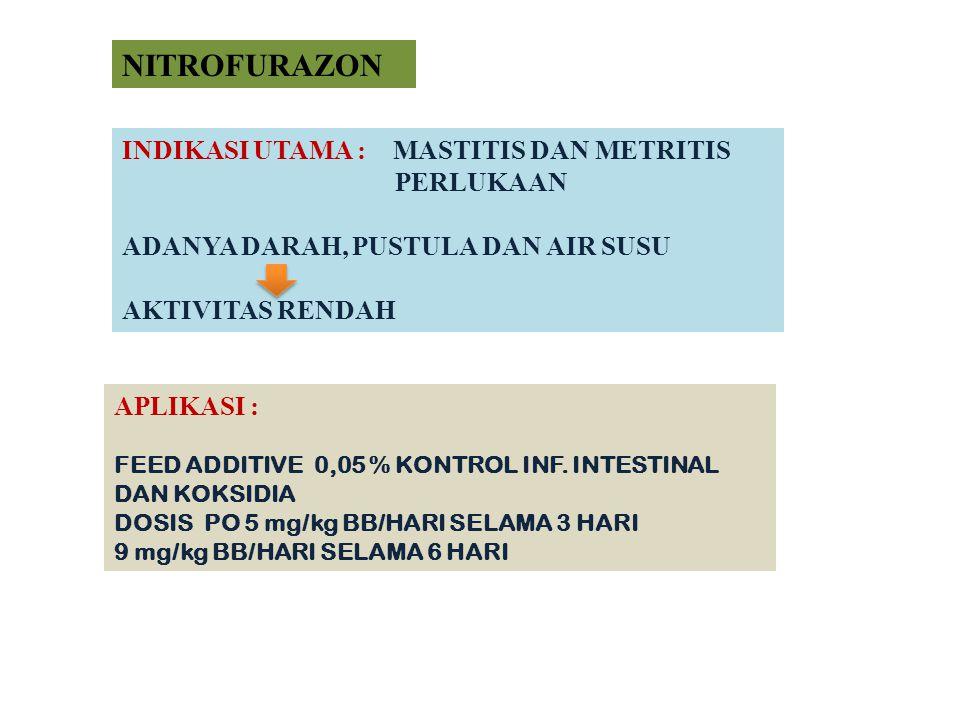 NITROFURAZON INDIKASI UTAMA : MASTITIS DAN METRITIS PERLUKAAN ADANYA DARAH, PUSTULA DAN AIR SUSU AKTIVITAS RENDAH APLIKASI : FEED ADDITIVE 0,05 % KONT