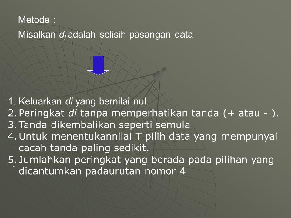 Metode : Misalkan d i adalah selisih pasangan data.