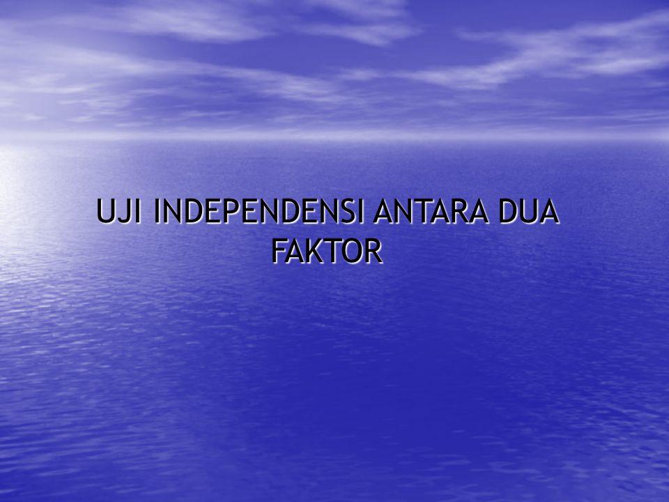 UJI INDEPENDENSI ANTARA DUA FAKTOR