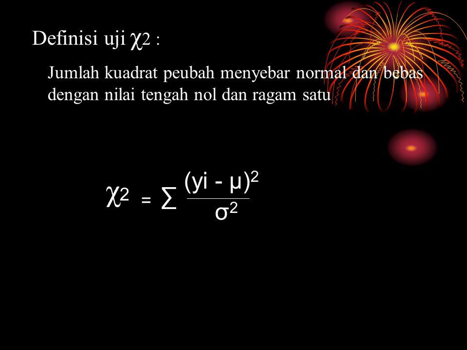 Definisi uji χ 2 : Jumlah kuadrat peubah menyebar normal dan bebas dengan nilai tengah nol dan ragam satu χ2χ2 = ∑ (yi - µ) 2 σ2σ2