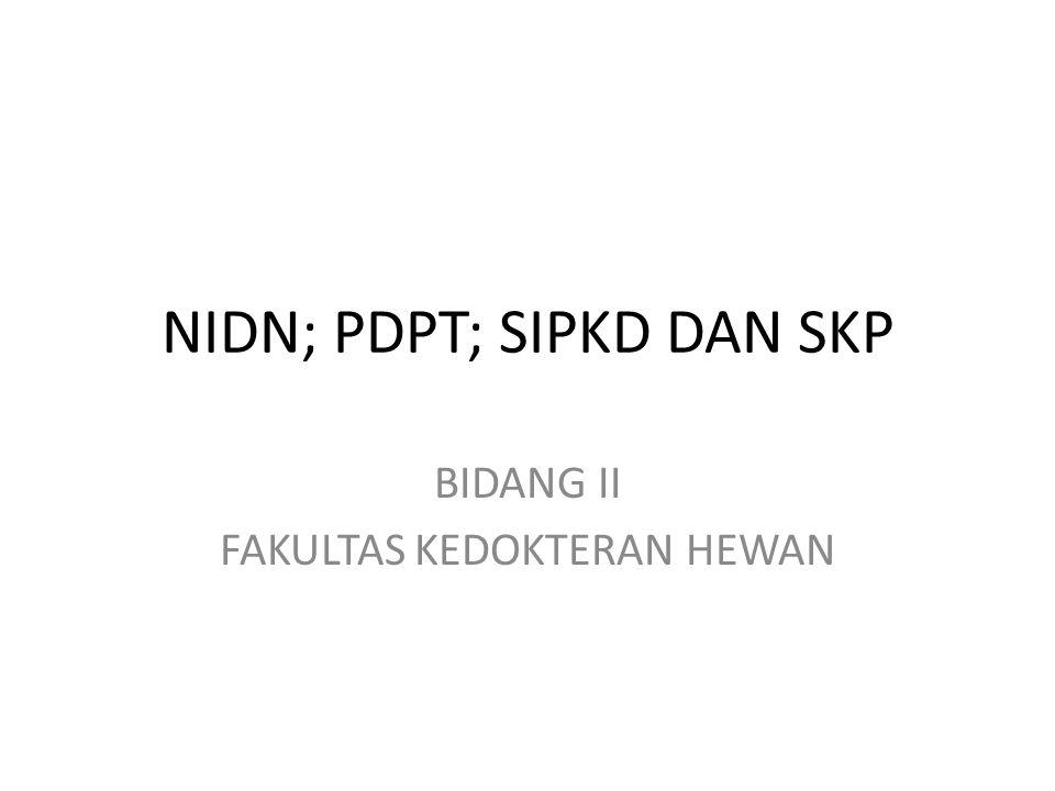 NIDN= nomor induk dosen nasional merupakan nomor identitas sebagai legitimasi bahwa seseorang adalah berstatus sebagai dosen tetap, baik PTN maupun PTS sesuai ketentuan dalam PP No 37 Tahun 2009