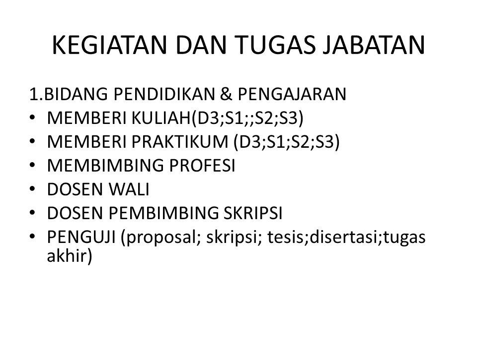 KEGIATAN DAN TUGAS JABATAN 1.BIDANG PENDIDIKAN & PENGAJARAN MEMBERI KULIAH(D3;S1;;S2;S3) MEMBERI PRAKTIKUM (D3;S1;S2;S3) MEMBIMBING PROFESI DOSEN WALI DOSEN PEMBIMBING SKRIPSI PENGUJI (proposal; skripsi; tesis;disertasi;tugas akhir)