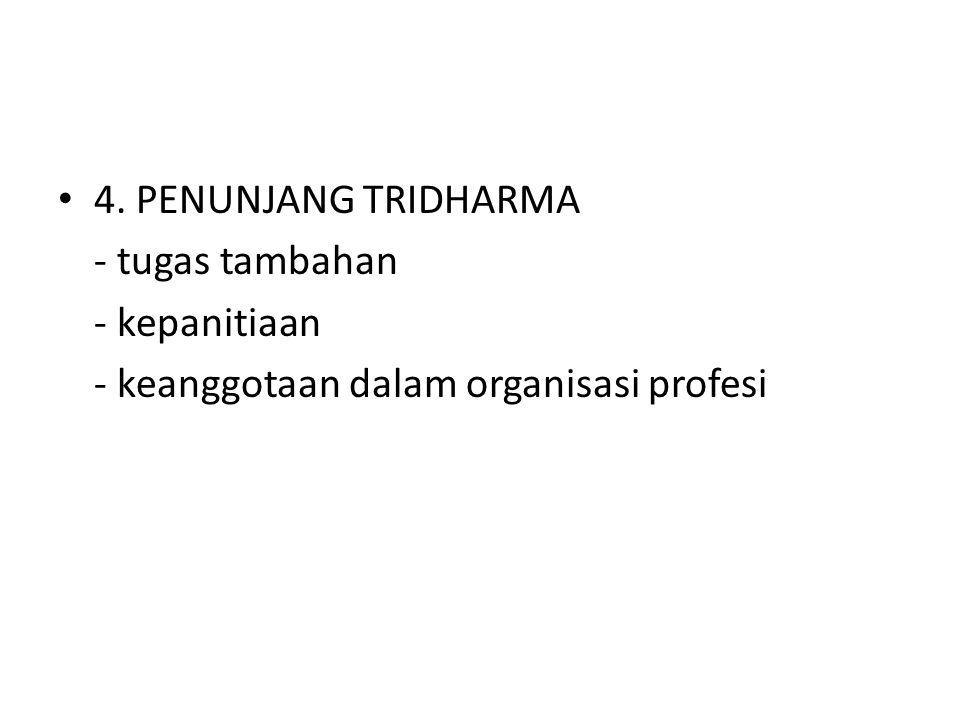 4. PENUNJANG TRIDHARMA - tugas tambahan - kepanitiaan - keanggotaan dalam organisasi profesi