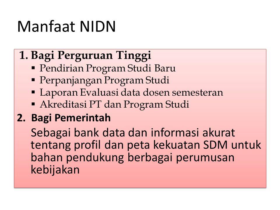 Manfaat NIDN 1.Bagi Perguruan Tinggi  Pendirian Program Studi Baru  Perpanjangan Program Studi  Laporan Evaluasi data dosen semesteran  Akreditasi PT dan Program Studi 2.