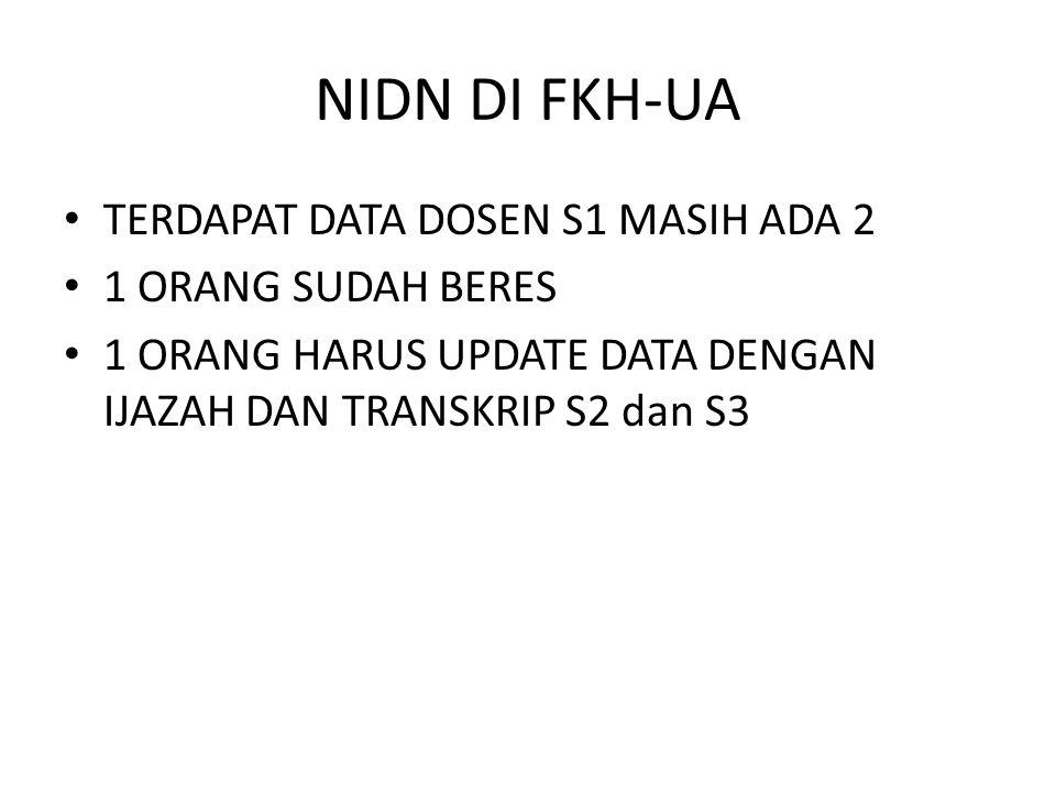 NIDN DI FKH-UA TERDAPAT DATA DOSEN S1 MASIH ADA 2 1 ORANG SUDAH BERES 1 ORANG HARUS UPDATE DATA DENGAN IJAZAH DAN TRANSKRIP S2 dan S3
