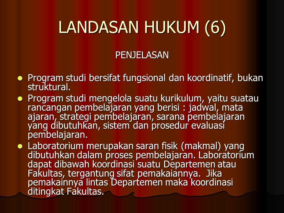 LANDASAN HUKUM (6) PENJELASAN Program studi bersifat fungsional dan koordinatif, bukan struktural. Program studi bersifat fungsional dan koordinatif,