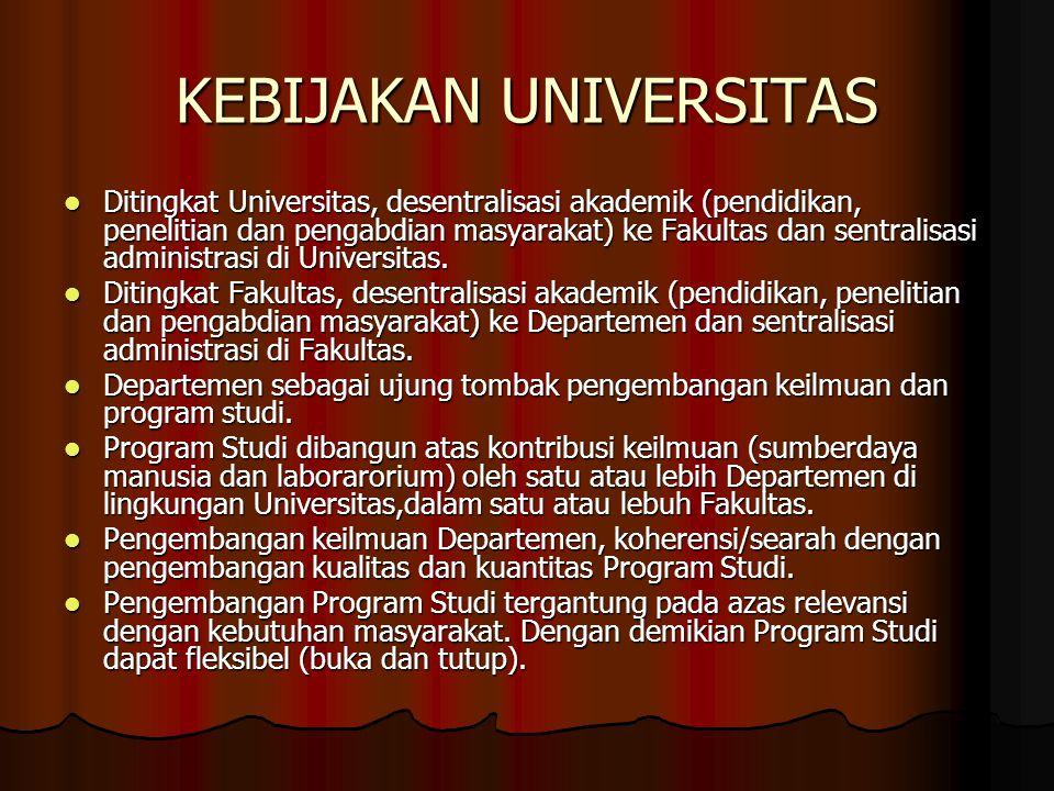 KEBIJAKAN UNIVERSITAS Ditingkat Universitas, desentralisasi akademik (pendidikan, penelitian dan pengabdian masyarakat) ke Fakultas dan sentralisasi a