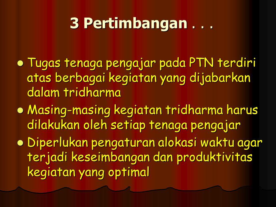 3 Pertimbangan... Tugas tenaga pengajar pada PTN terdiri atas berbagai kegiatan yang dijabarkan dalam tridharma Masing-masing kegiatan tridharma harus
