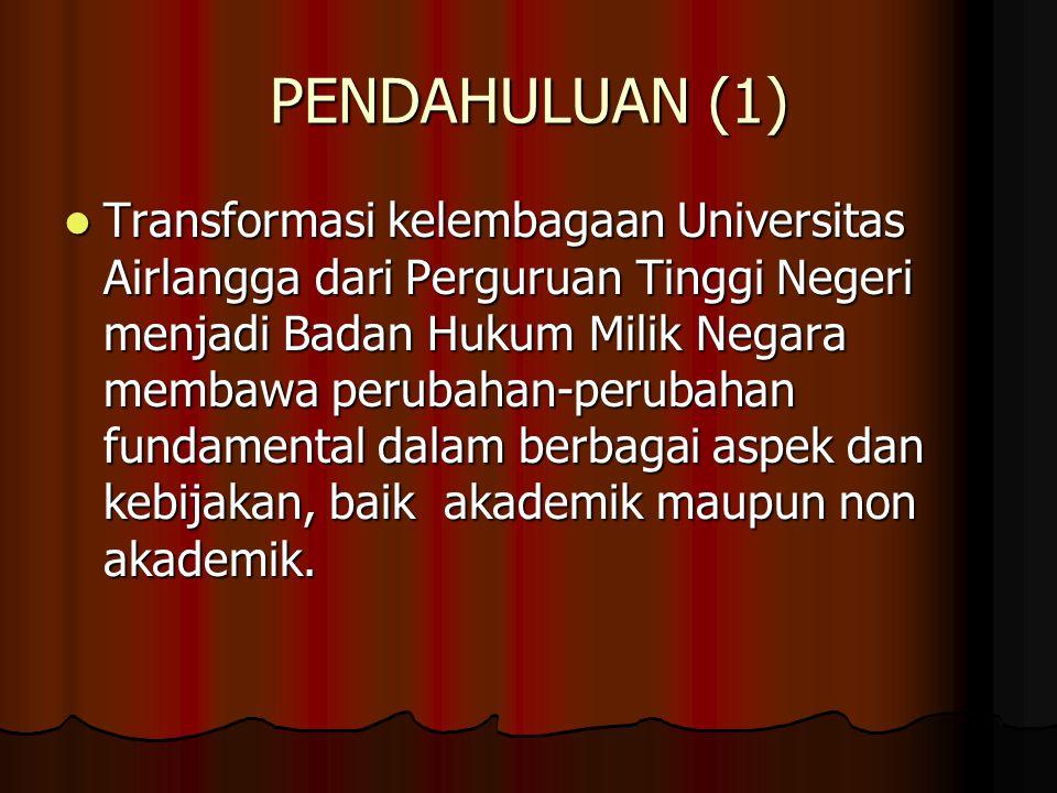 PENDAHULUAN (1) Transformasi kelembagaan Universitas Airlangga dari Perguruan Tinggi Negeri menjadi Badan Hukum Milik Negara membawa perubahan-perubah