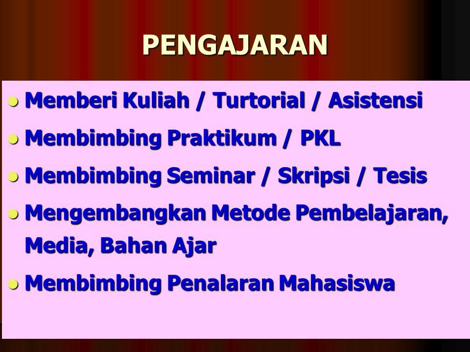 PENGAJARAN Memberi Kuliah / Turtorial / Asistensi Memberi Kuliah / Turtorial / Asistensi Membimbing Praktikum / PKL Membimbing Praktikum / PKL Membimb