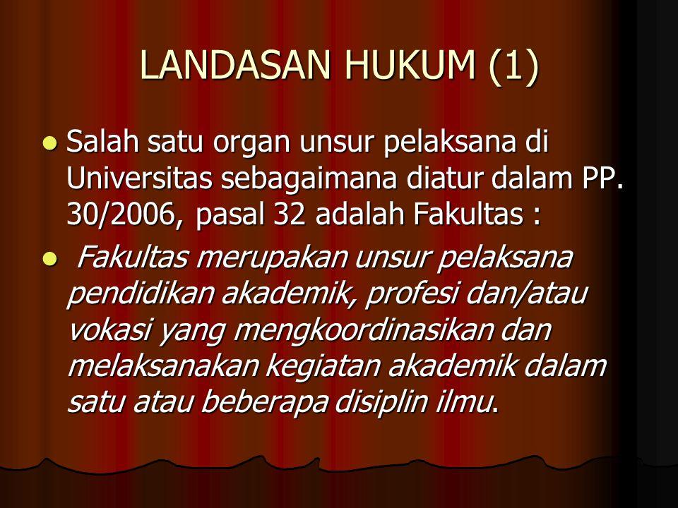 LANDASAN HUKUM (1) Salah satu organ unsur pelaksana di Universitas sebagaimana diatur dalam PP. 30/2006, pasal 32 adalah Fakultas : Salah satu organ u