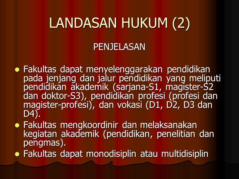 LANDASAN HUKUM (3) Departemen sebagaimana termaktub dalam PP 30/2006, pasal 34 adalah : Departemen sebagaimana termaktub dalam PP 30/2006, pasal 34 adalah : ''merupakan unsur pelaksana akademik dan pengembang keilmuan''.