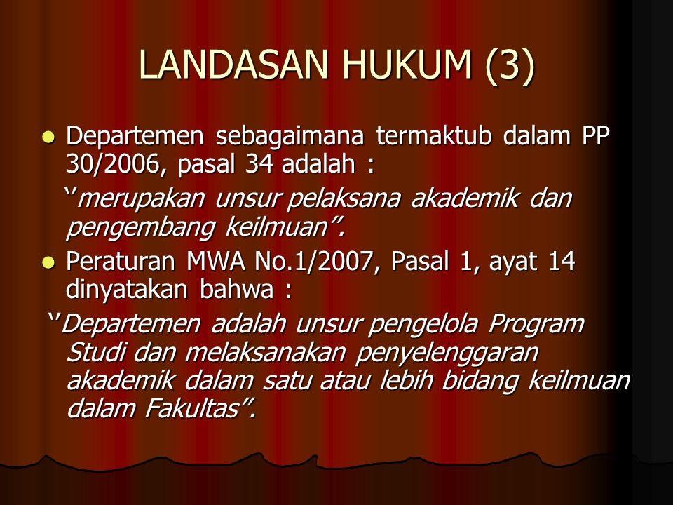LANDASAN HUKUM (3) Departemen sebagaimana termaktub dalam PP 30/2006, pasal 34 adalah : Departemen sebagaimana termaktub dalam PP 30/2006, pasal 34 ad