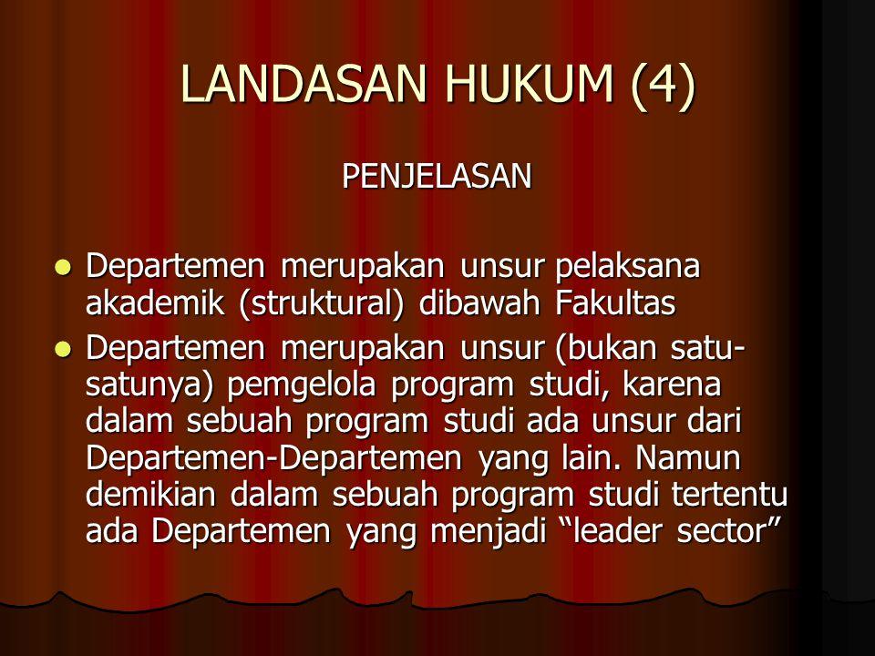LANDASAN HUKUM (4) PENJELASAN Departemen merupakan unsur pelaksana akademik (struktural) dibawah Fakultas Departemen merupakan unsur pelaksana akademi
