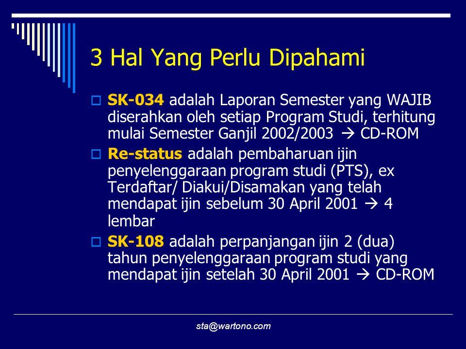 sta@wartono.com 3 Hal Yang Perlu Dipahami  SK-034 adalah Laporan Semester yang WAJIB diserahkan oleh setiap Program Studi, terhitung mulai Semester Ganjil 2002/2003  CD-ROM  Re-status adalah pembaharuan ijin penyelenggaraan program studi (PTS), ex Terdaftar/ Diakui/Disamakan yang telah mendapat ijin sebelum 30 April 2001  4 lembar  SK-108 adalah perpanjangan ijin 2 (dua) tahun penyelenggaraan program studi yang mendapat ijin setelah 30 April 2001  CD-ROM
