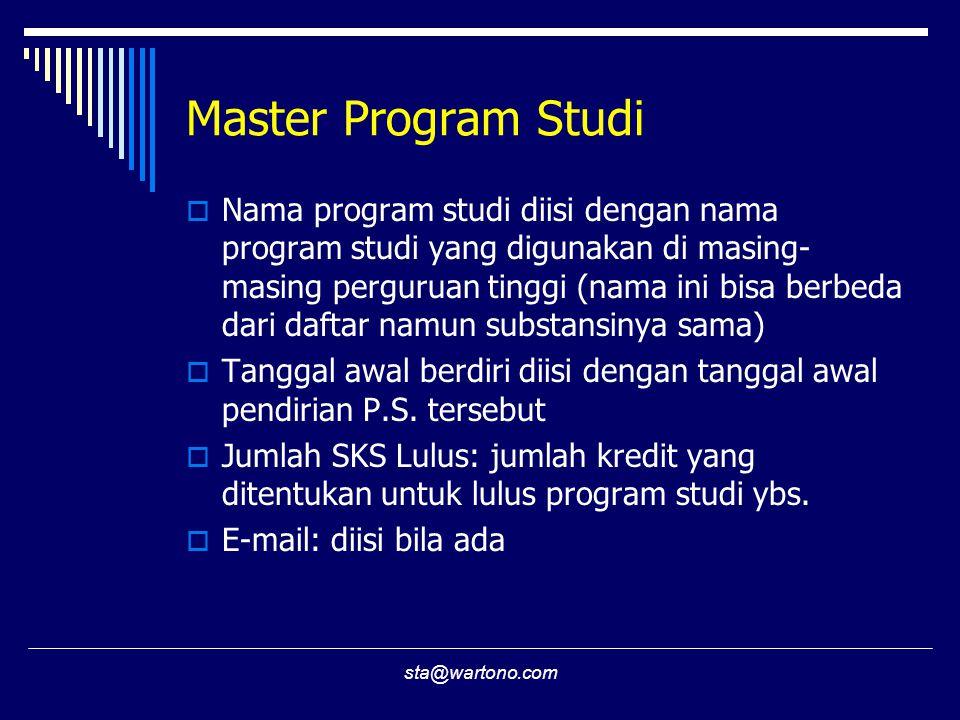 sta@wartono.com Master Program Studi  Nama program studi diisi dengan nama program studi yang digunakan di masing- masing perguruan tinggi (nama ini bisa berbeda dari daftar namun substansinya sama)  Tanggal awal berdiri diisi dengan tanggal awal pendirian P.S.