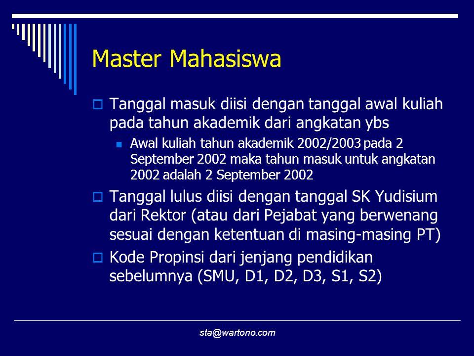 sta@wartono.com Master Mahasiswa  Tanggal masuk diisi dengan tanggal awal kuliah pada tahun akademik dari angkatan ybs Awal kuliah tahun akademik 2002/2003 pada 2 September 2002 maka tahun masuk untuk angkatan 2002 adalah 2 September 2002  Tanggal lulus diisi dengan tanggal SK Yudisium dari Rektor (atau dari Pejabat yang berwenang sesuai dengan ketentuan di masing-masing PT)  Kode Propinsi dari jenjang pendidikan sebelumnya (SMU, D1, D2, D3, S1, S2)