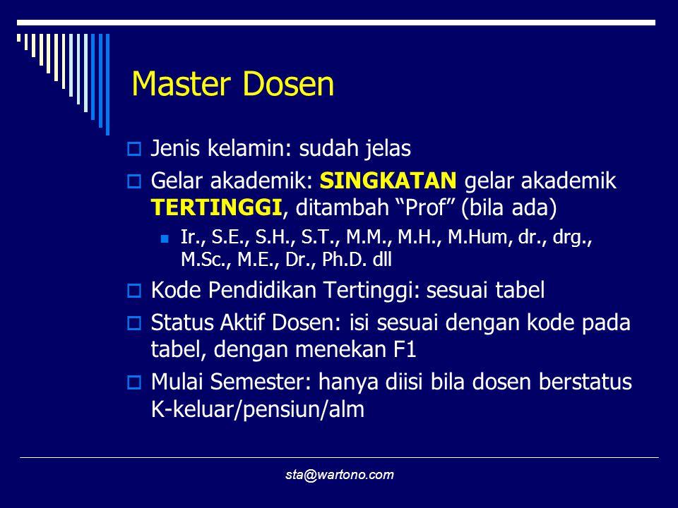 sta@wartono.com Master Dosen  Jenis kelamin: sudah jelas  Gelar akademik: SINGKATAN gelar akademik TERTINGGI, ditambah Prof (bila ada) Ir., S.E., S.H., S.T., M.M., M.H., M.Hum, dr., drg., M.Sc., M.E., Dr., Ph.D.