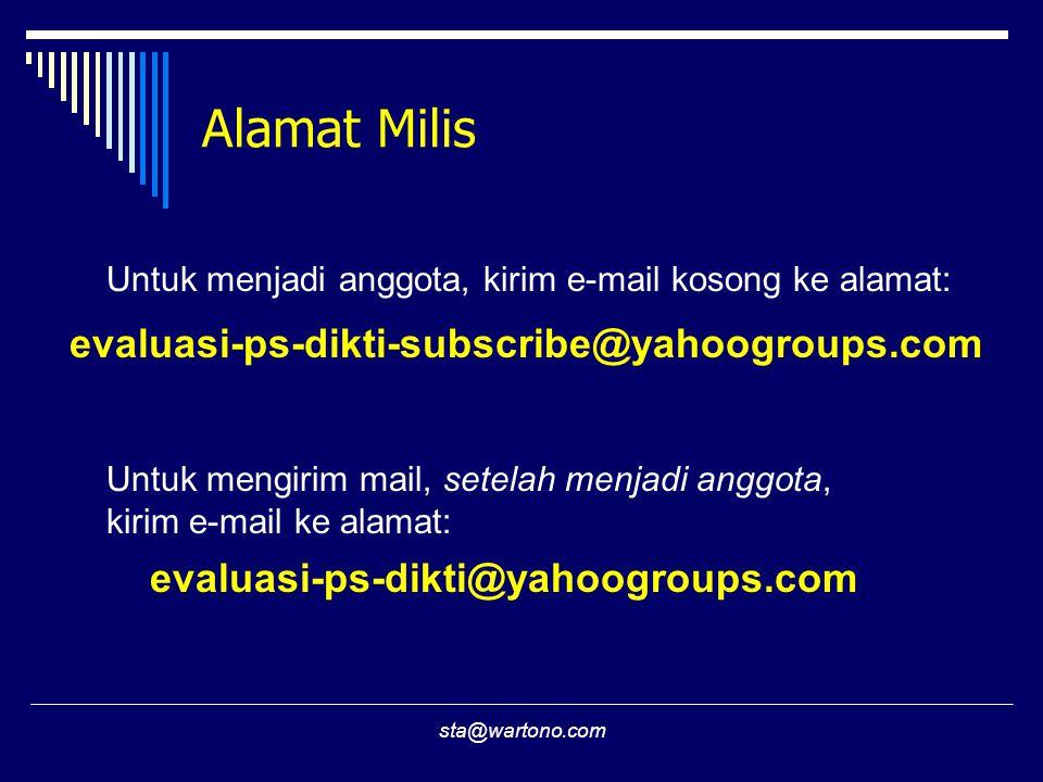 sta@wartono.com Alamat Milis evaluasi-ps-dikti-subscribe@yahoogroups.com Untuk menjadi anggota, kirim e-mail kosong ke alamat: Untuk mengirim mail, setelah menjadi anggota, kirim e-mail ke alamat: evaluasi-ps-dikti@yahoogroups.com