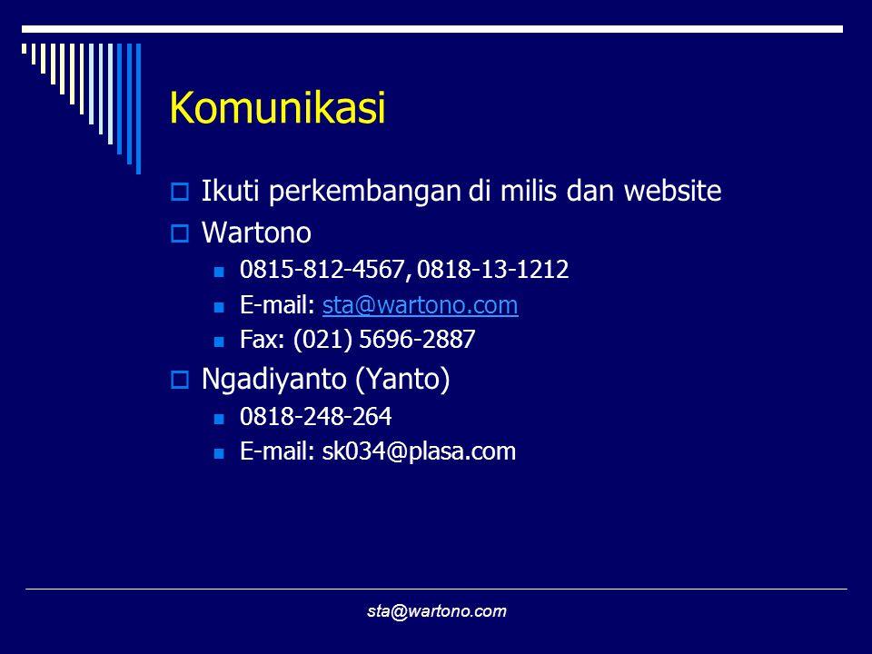 sta@wartono.com Komunikasi  Ikuti perkembangan di milis dan website  Wartono 0815-812-4567, 0818-13-1212 E-mail: sta@wartono.comsta@wartono.com Fax: (021) 5696-2887  Ngadiyanto (Yanto) 0818-248-264 E-mail: sk034@plasa.com