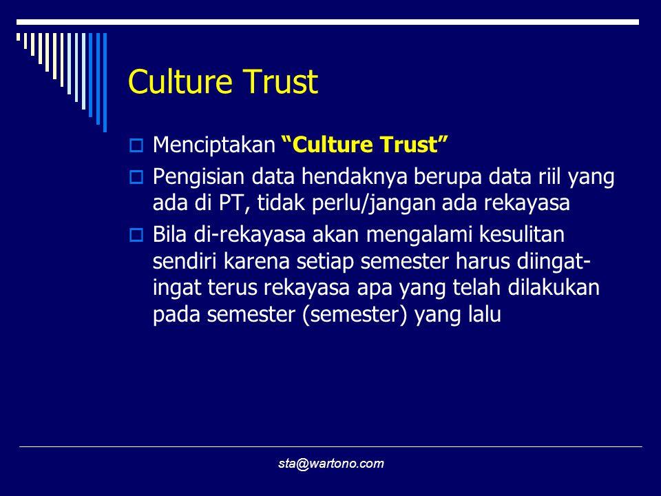 sta@wartono.com Culture Trust  Menciptakan Culture Trust  Pengisian data hendaknya berupa data riil yang ada di PT, tidak perlu/jangan ada rekayasa  Bila di-rekayasa akan mengalami kesulitan sendiri karena setiap semester harus diingat- ingat terus rekayasa apa yang telah dilakukan pada semester (semester) yang lalu