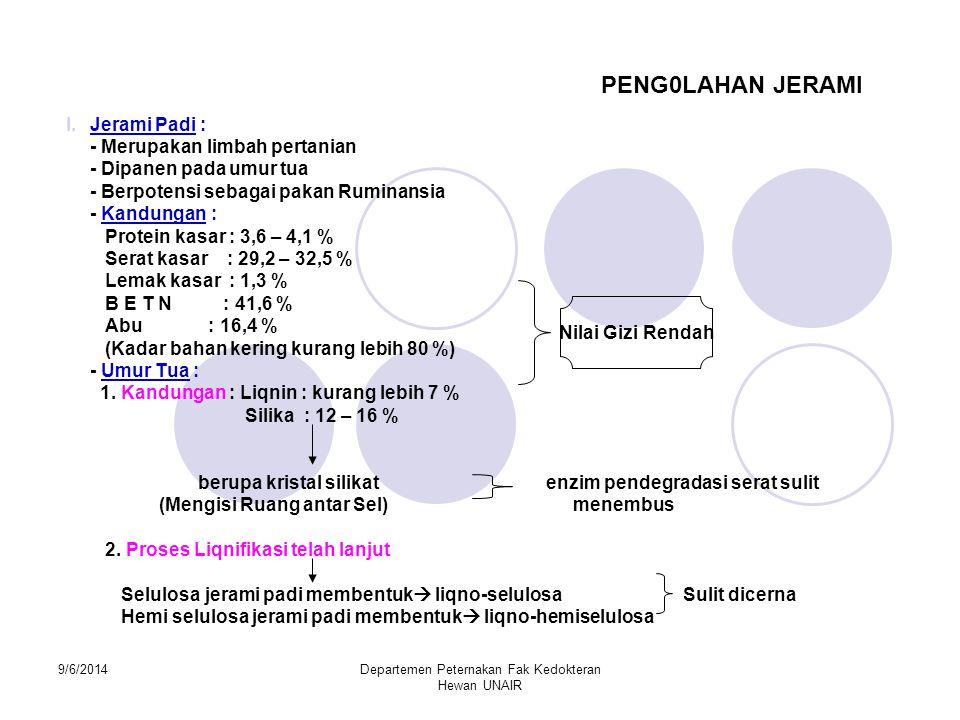 9/6/2014Departemen Peternakan Fak Kedokteran Hewan UNAIR PENG0LAHAN JERAMI I.Jerami Padi : - Merupakan limbah pertanian - Dipanen pada umur tua - Berp
