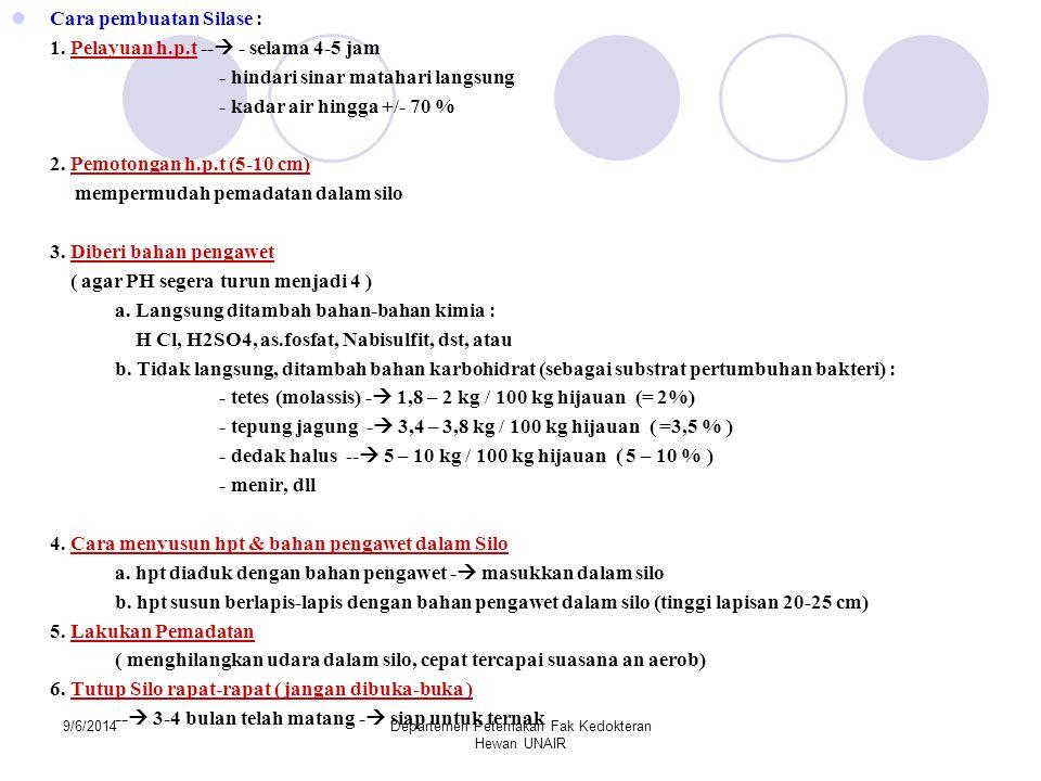 9/6/2014Departemen Peternakan Fak Kedokteran Hewan UNAIR Cara pembuatan Silase : 1. Pelayuan h.p.t --  - selama 4-5 jam - hindari sinar matahari lang
