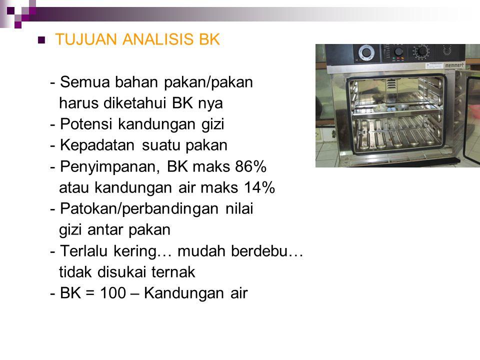 TUJUAN ANALISIS BK - Semua bahan pakan/pakan harus diketahui BK nya - Potensi kandungan gizi - Kepadatan suatu pakan - Penyimpanan, BK maks 86% atau k