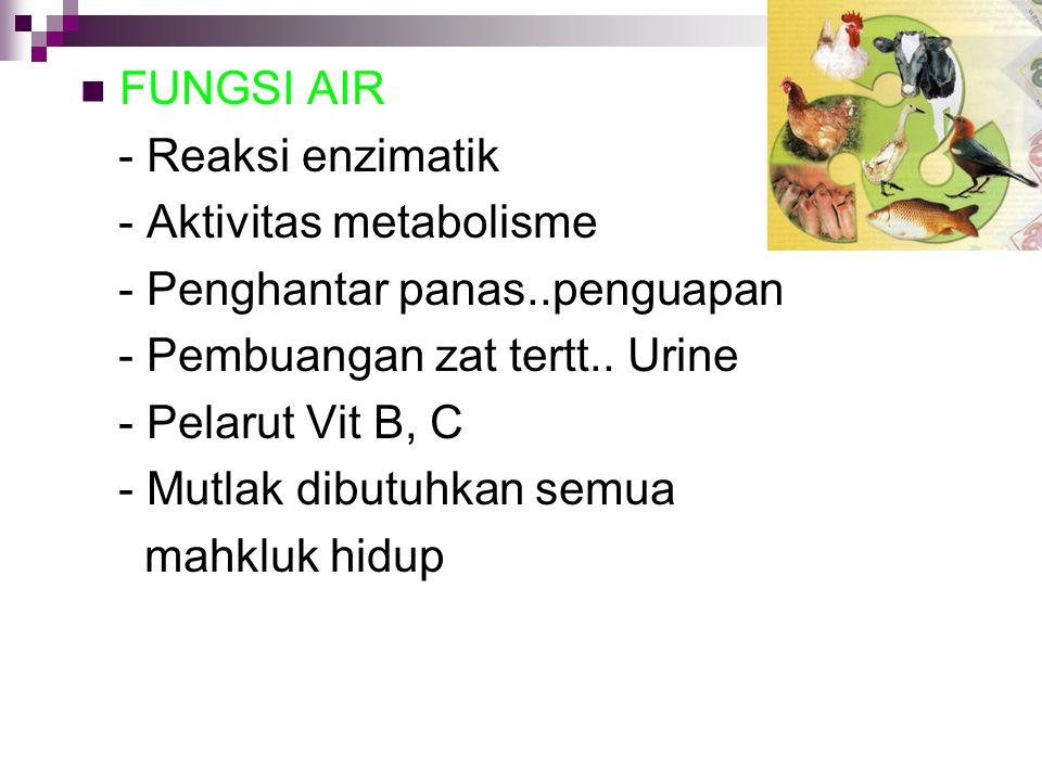 FUNGSI AIR - Reaksi enzimatik - Aktivitas metabolisme - Penghantar panas..penguapan - Pembuangan zat tertt.. Urine - Pelarut Vit B, C - Mutlak dibutuh