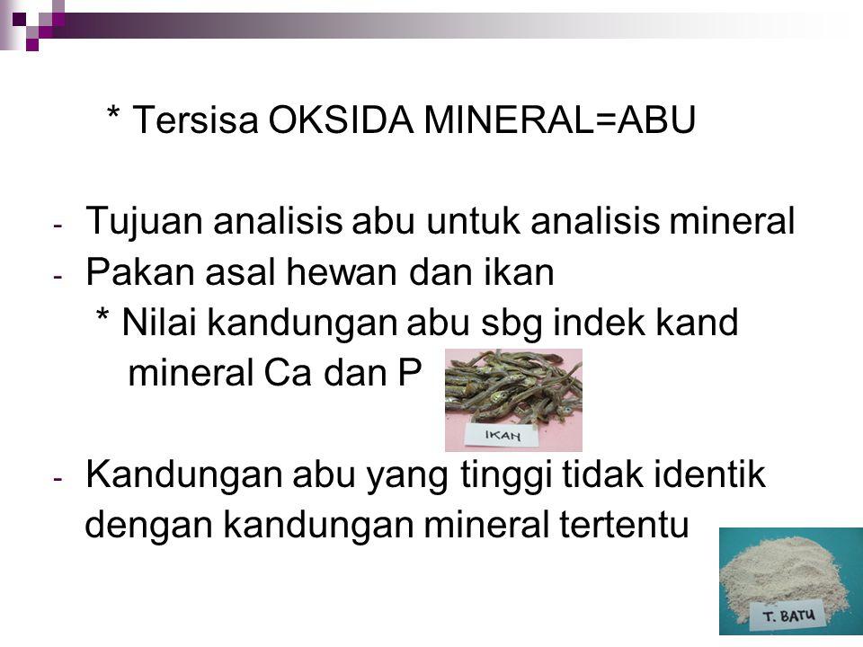 * Tersisa OKSIDA MINERAL=ABU - Tujuan analisis abu untuk analisis mineral - Pakan asal hewan dan ikan * Nilai kandungan abu sbg indek kand mineral Ca