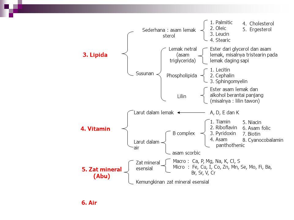 4. Cholesterol 5. Ergesterol 1. Palmitic 2. Oleic 3. Leucin 4. Stearic Ester dari glycerol dan asam lemak, misalnya tristearin pada lemak daging sapi