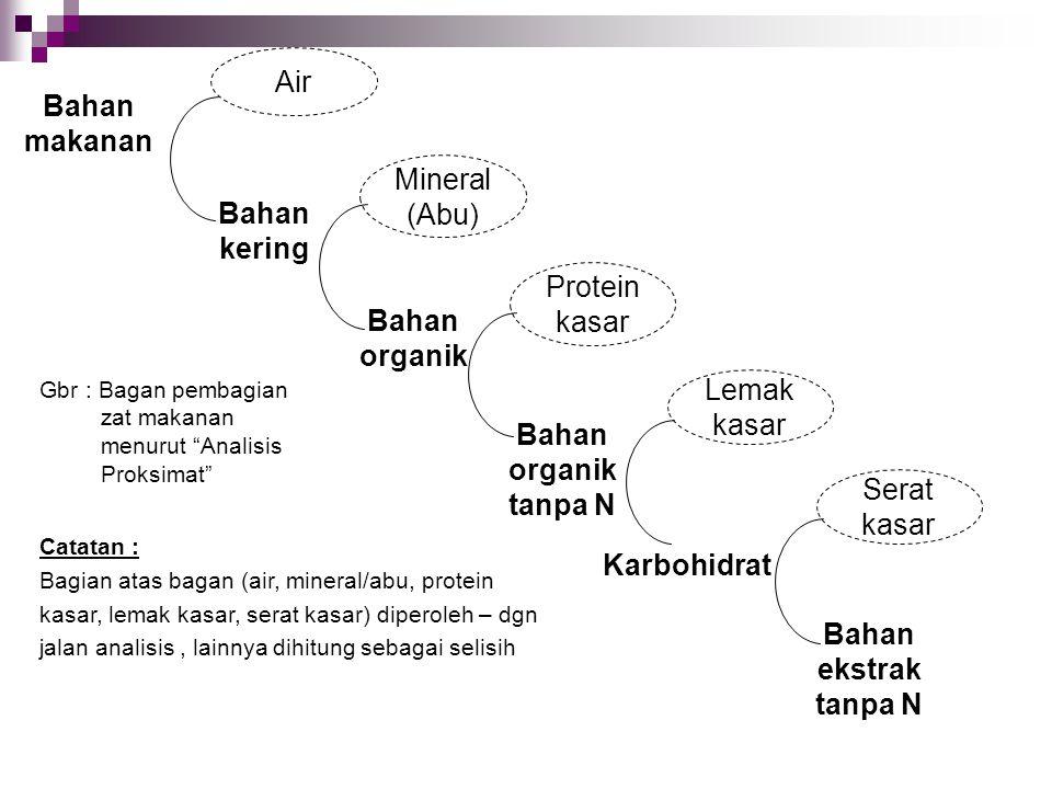 Bahan makanan Air Bahan kering Mineral (Abu) Bahan organik Protein kasar Bahan organik tanpa N Lemak kasar Karbohidrat Serat kasar Bahan ekstrak tanpa