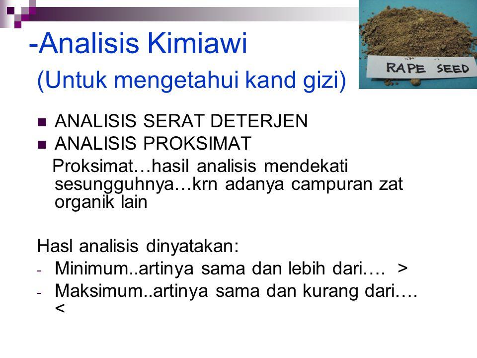 -Analisis Kimiawi (Untuk mengetahui kand gizi) ANALISIS SERAT DETERJEN ANALISIS PROKSIMAT Proksimat…hasil analisis mendekati sesungguhnya…krn adanya c