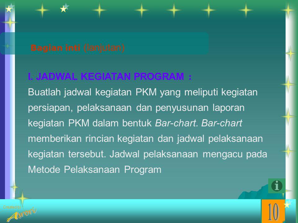 Created by : Bagian inti (lanjutan) H. METODE PELAKSANAAN PROGRAM Uraikan metode yang digunakan dalam pelaksanaan program secara rinci. Uraian untuk P