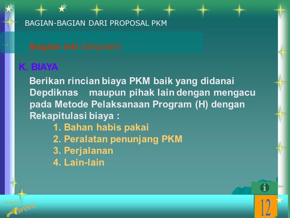 Created by : Bagian inti (lanjutan) K. NAMA DAN BIODATA DOSEN PENDAMPING 1. Nama Lengkap dan Gelar: 2. Golongan Pangkat dan NIP: 3. Jabatan Fungsional