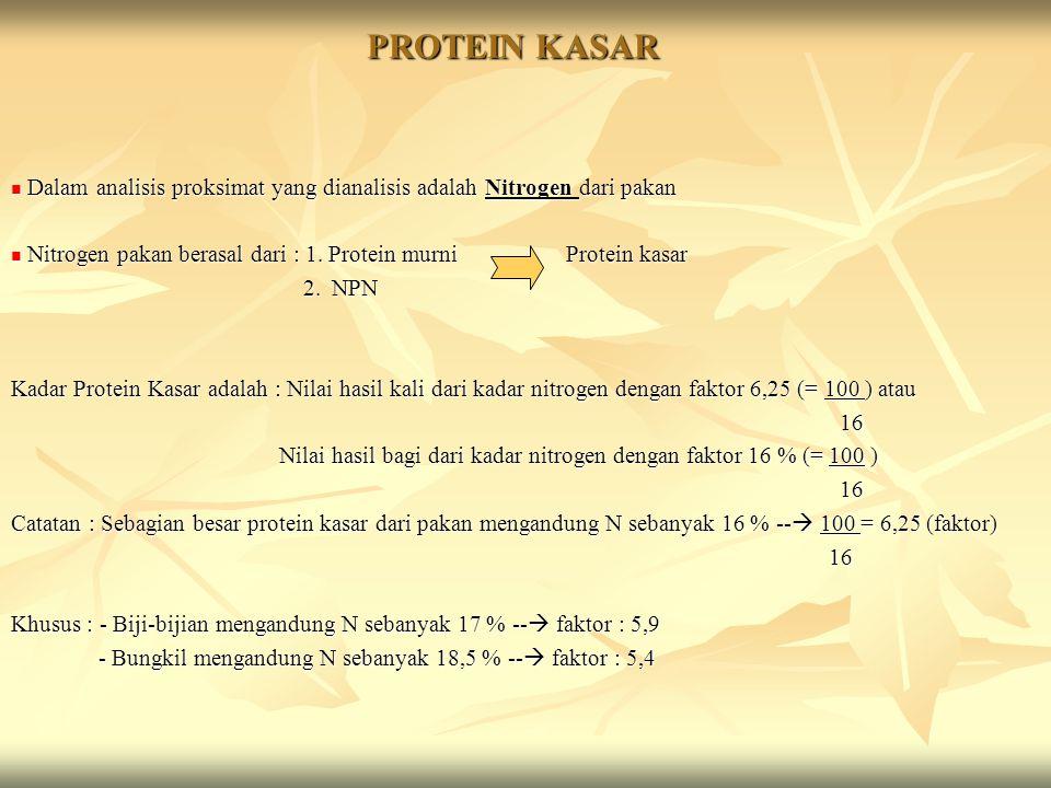 PROTEIN KASAR Dalam analisis proksimat yang dianalisis adalah Nitrogen dari pakan Dalam analisis proksimat yang dianalisis adalah Nitrogen dari pakan