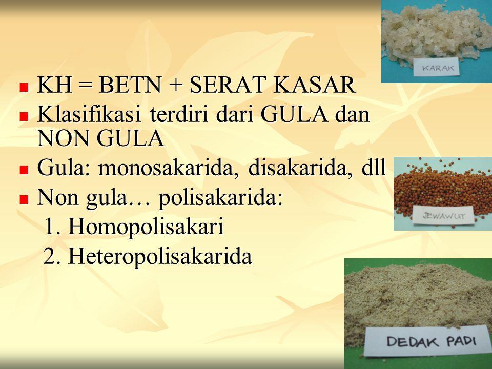 KH = BETN + SERAT KASAR KH = BETN + SERAT KASAR Klasifikasi terdiri dari GULA dan NON GULA Klasifikasi terdiri dari GULA dan NON GULA Gula: monosakari