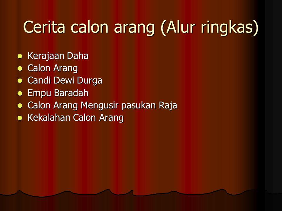 Cerita calon arang (Alur ringkas) Kerajaan Daha Kerajaan Daha Calon Arang Calon Arang Candi Dewi Durga Candi Dewi Durga Empu Baradah Empu Baradah Calo