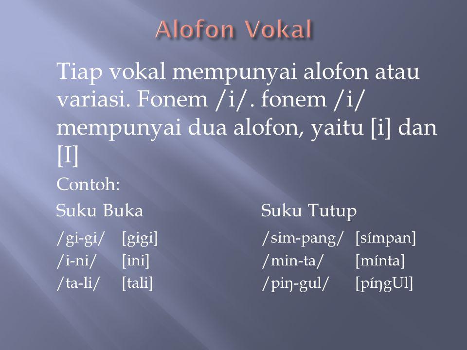  Dalam bahasa Indonesia ada enam fonem vokal: /i/, /e/, / ə /, /a/, /u/, dan /o/. Meskipun bentuk bibir mempengaruhi kualitas vokal, dalam bahasa Ind