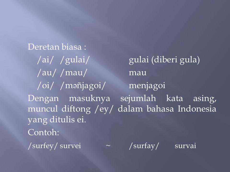 Dalam bahasa Indonesia terdapat tiga buah diftong, yakni /ay/, /aw/, dan /oy/ yang masing-masing dapat dituliskan: ai, au, dan oi. Ketiga diftong itu