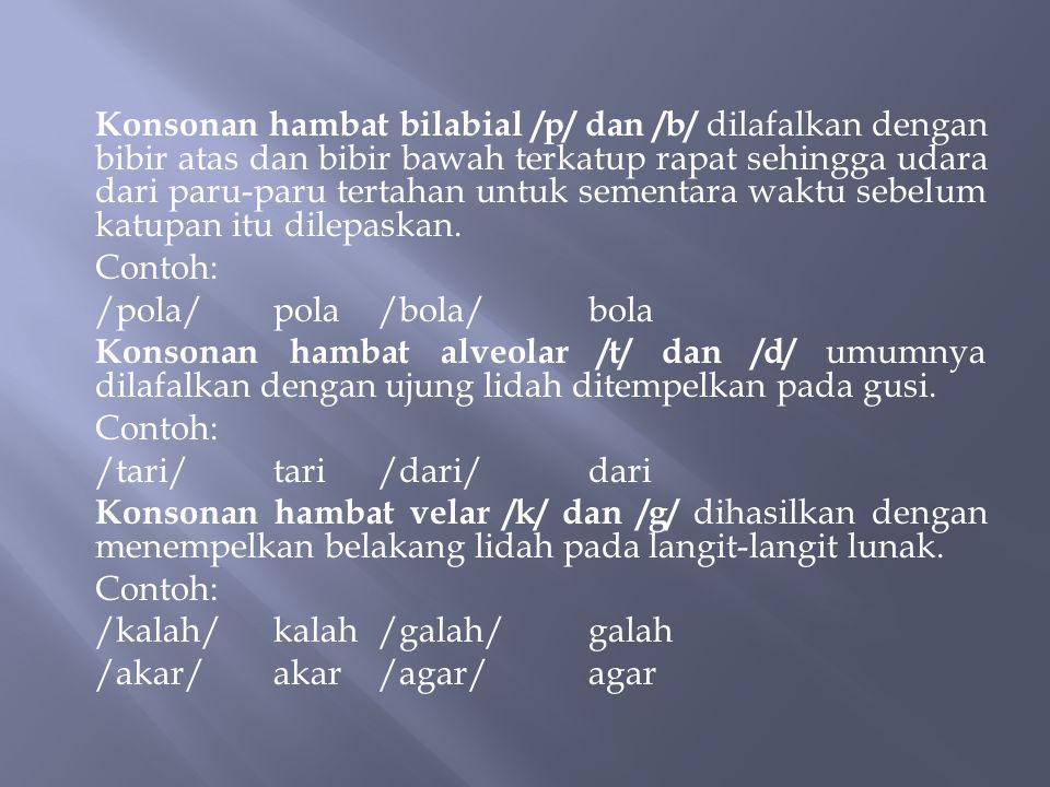 Konsonan dalam bahasa Indonesia dapat dikategorikan berdasarkan tiga faktor, (1) keadaan pita suara, (2) daerah artikulasi, dan (3) cara artikulasinya