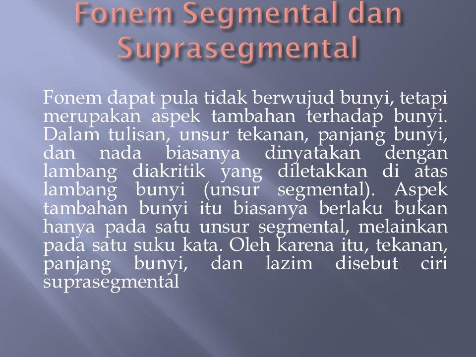  Satuan bahasa terkecil berupa bunyi atau aspek bunyi bahasa yang membedakan bentuk dan makna kata dinamakan fonem. Bunyi [p] dan [b] dalam contoh di