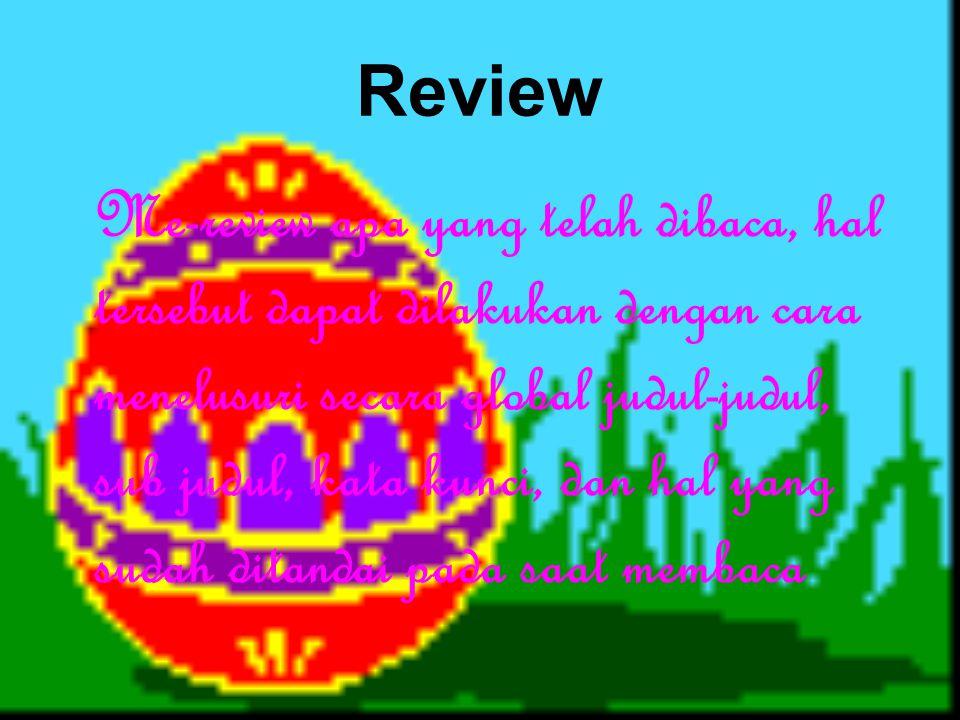 Review Me-review apa yang telah dibaca, hal tersebut dapat dilakukan dengan cara menelusuri secara global judul-judul, sub judul, kata kunci, dan hal