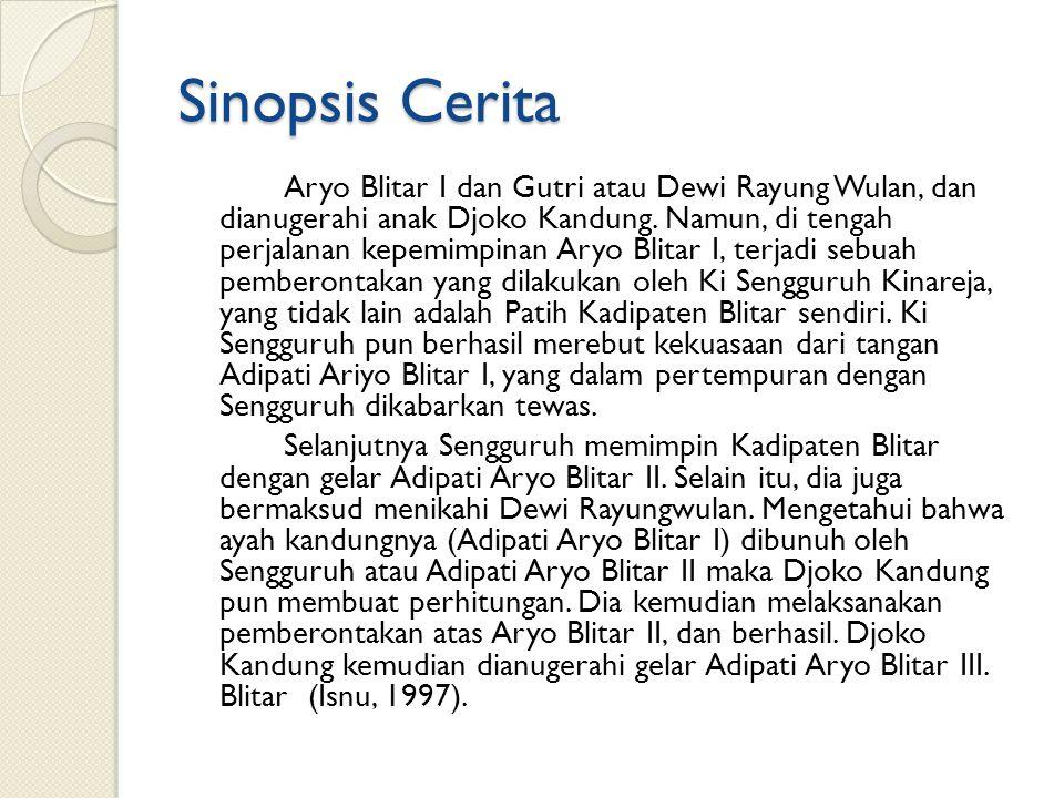 Sinopsis Cerita Aryo Blitar I dan Gutri atau Dewi Rayung Wulan, dan dianugerahi anak Djoko Kandung. Namun, di tengah perjalanan kepemimpinan Aryo Blit