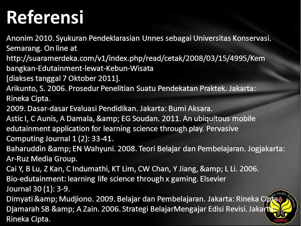 Referensi Anonim 2010. Syukuran Pendeklarasian Unnes sebagai Universitas Konservasi.